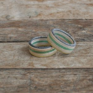 Wooden Green Skateboard Rings