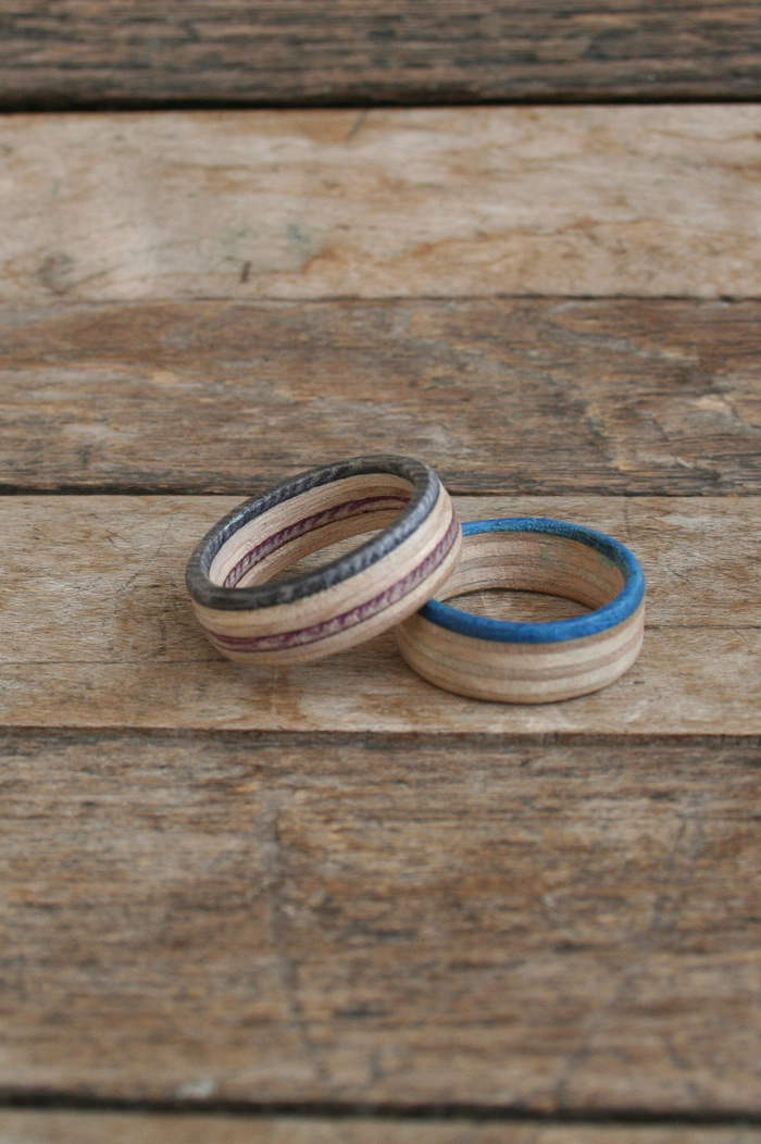 Wooden Red and Blue Skateboard Rings