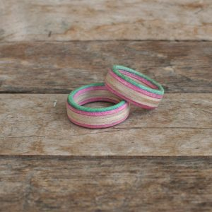 Wooden Pink and Green Skateboard Rings