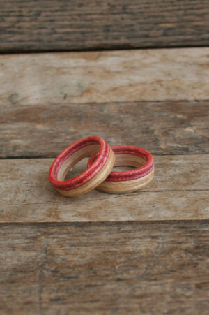 Wooden Red Skateboard Rings
