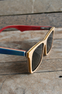 Blue and Red Polarized wooden sunglasses