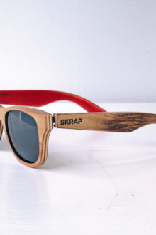 Sunglasses - Natural and Red Polarized wooden sunglasses