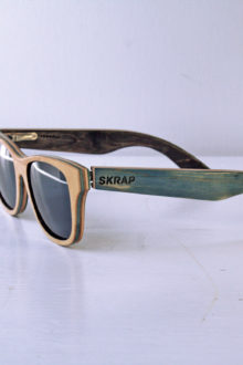 Blue and Green Polarized wooden sunglasses