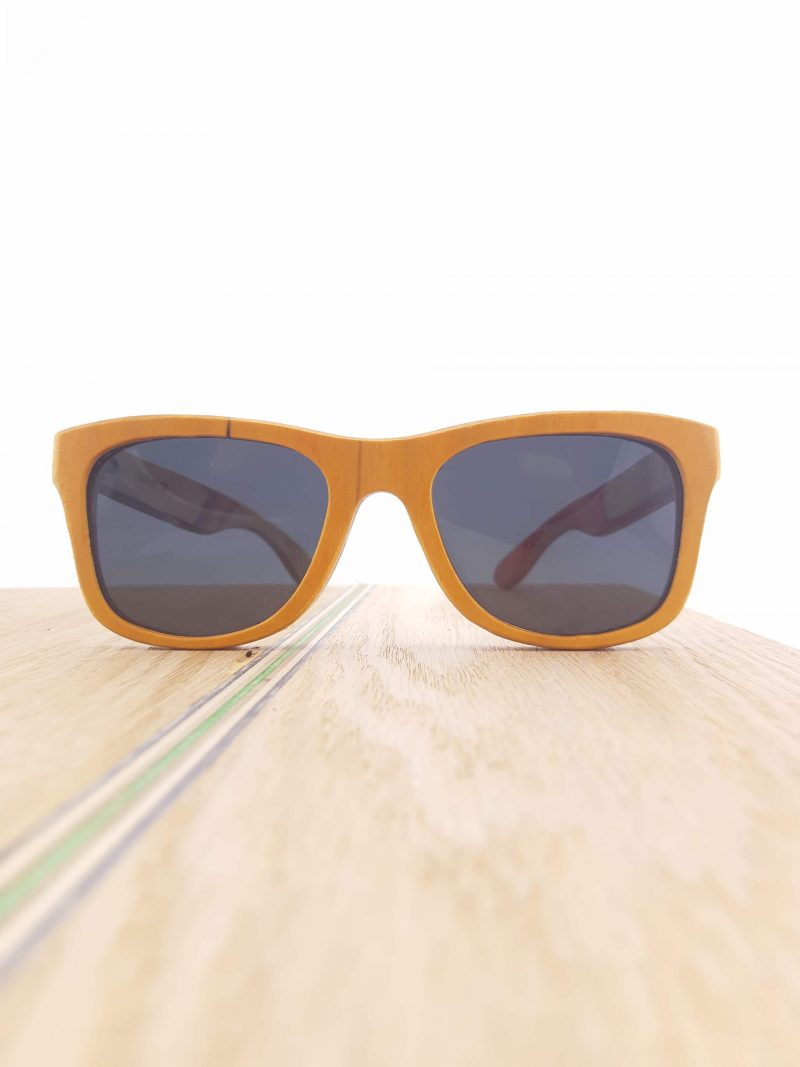 Recycled Wooden Skateboard Sunglasses (Yellow frames)