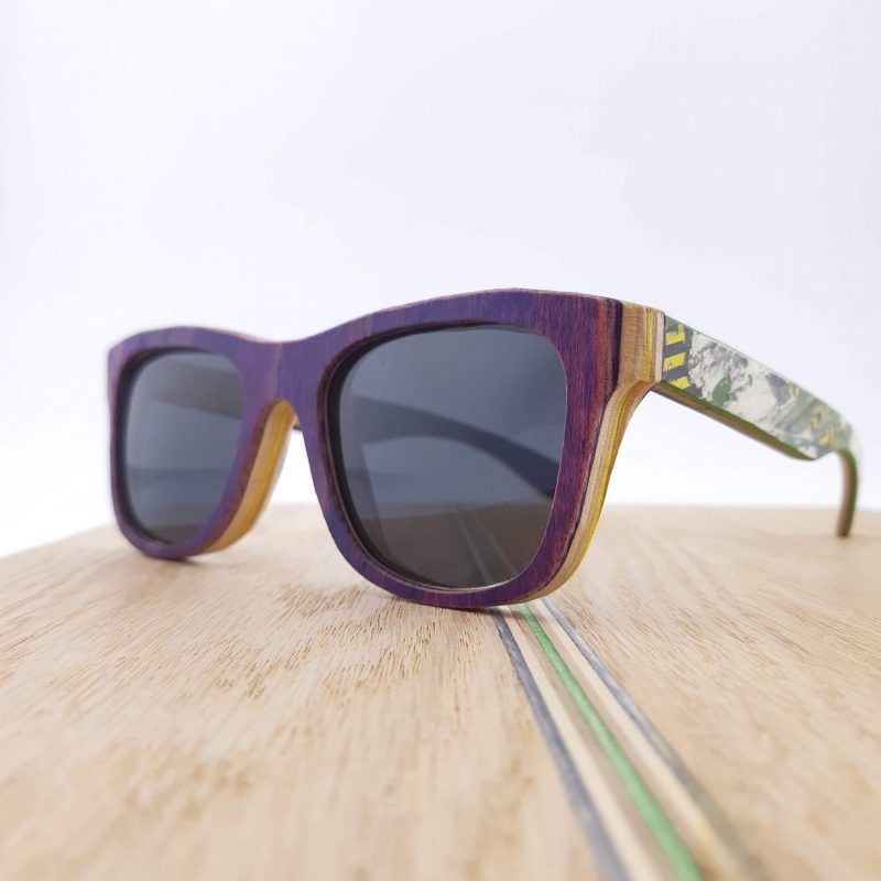 Recycled Wooden Skateboard Sunglasses (purple)