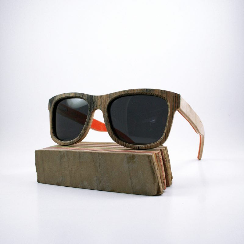 Recycled Wooden Skateboard Sunglasses (Black and Orange)