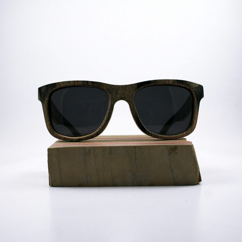 Recycled Wooden Skateboard Sunglasses (Black and Green)