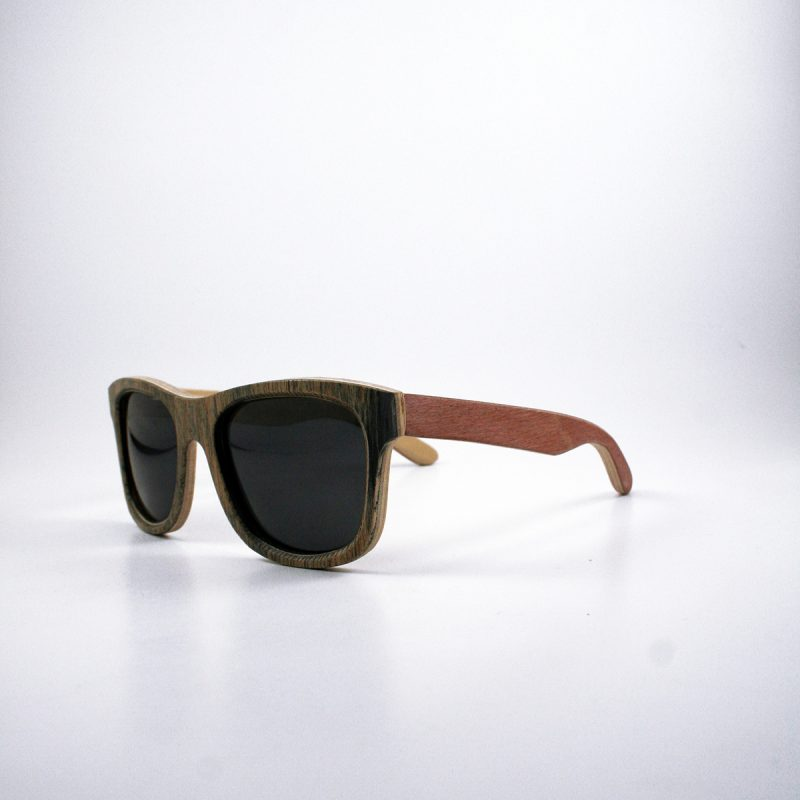 Recycled Wooden Skateboard Sunglasses (Black and Maroon)