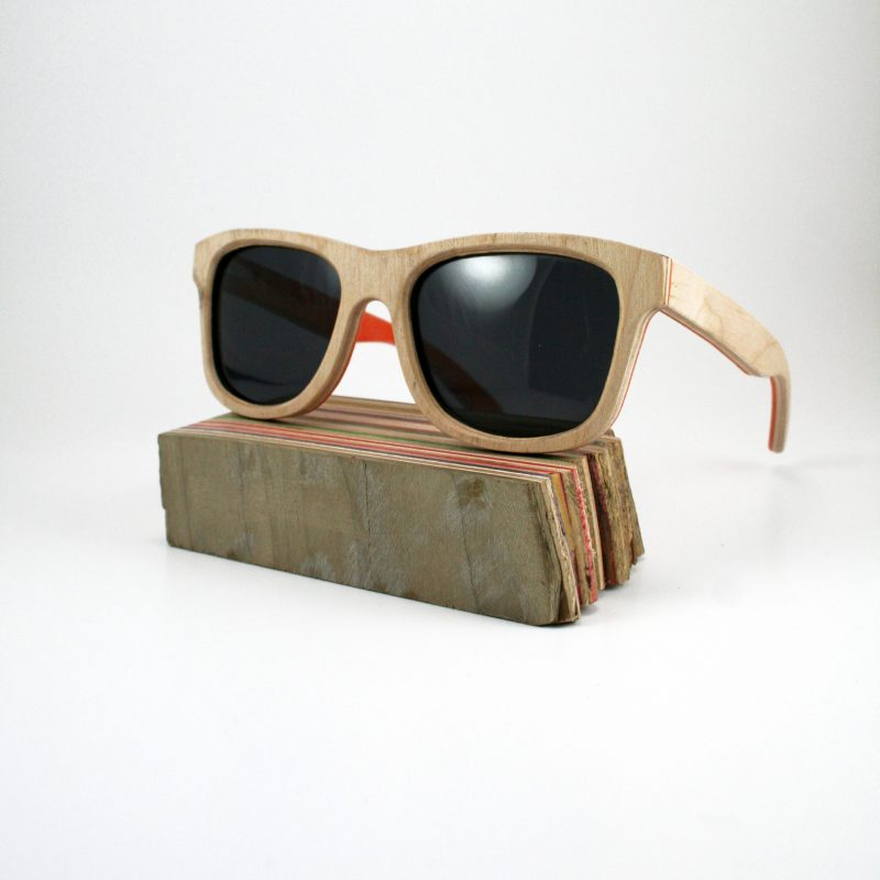 Recycled Wooden Skateboard Sunglasses (Orange Inlay)