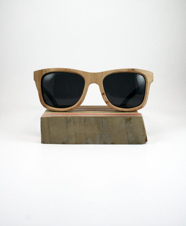 Recycled Wooden Skateboard Sunglasses (Natural, Blue & Grey)