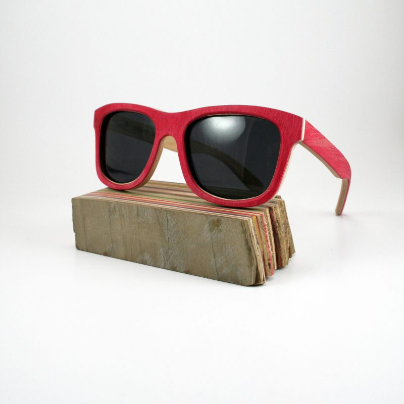 Recycled Wooden Skateboard Sunglasses (Red Inlay)