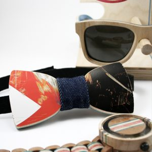 Wooden Bow Tie made from recycled skateboards