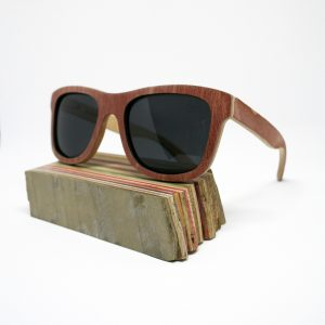 Recycled Wooden Skateboard Sunglasses (Maroon)