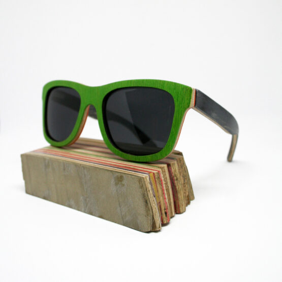 Recycled Wooden Skateboard Sunglasses (Black, Green & Orange)