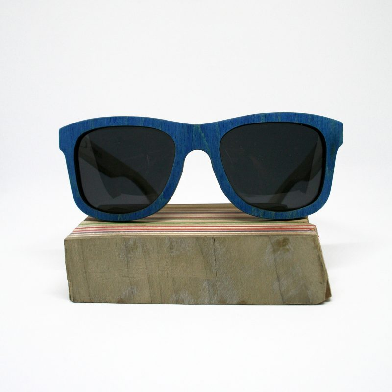 Recycled Wooden Skateboard Sunglasses (Green & Blue)