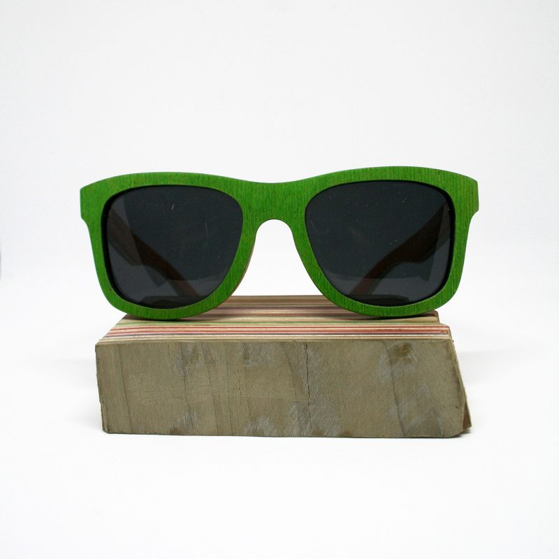 Recycled Wooden Skateboard Sunglasses (Green & Orange)