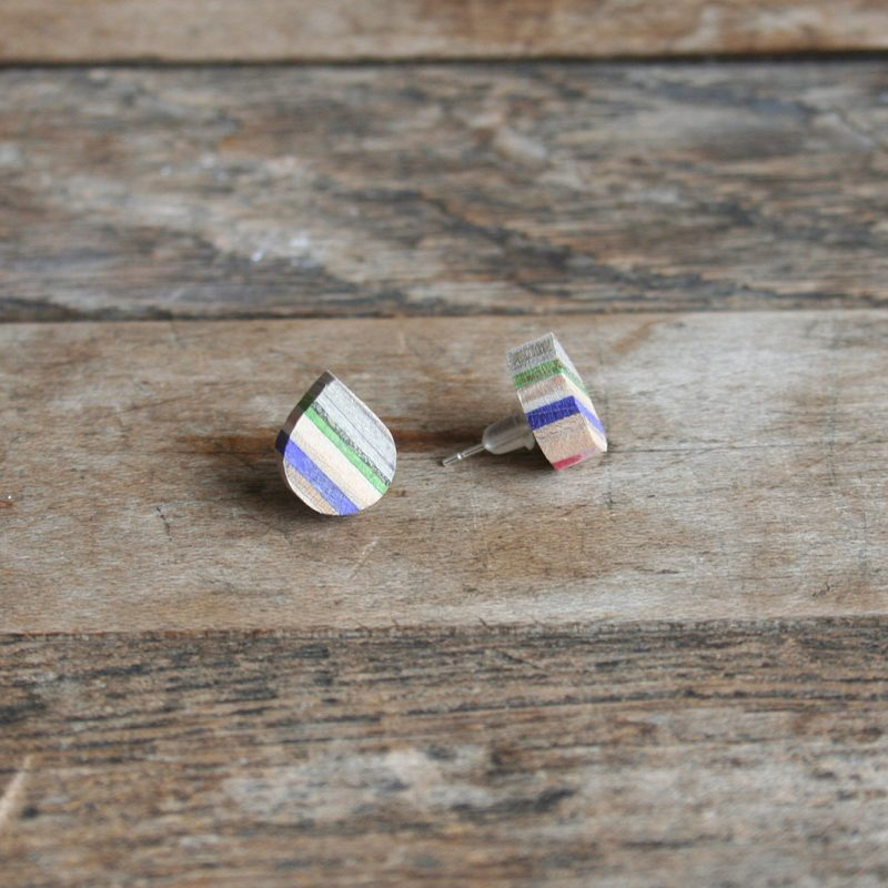 Stud Earrings hand cut from skateboard decks