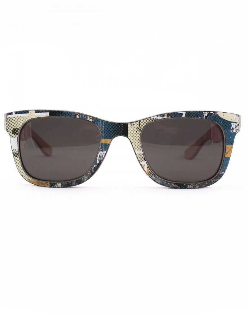 Recycled Wooden Skateboard Sunglasses (Green and White)