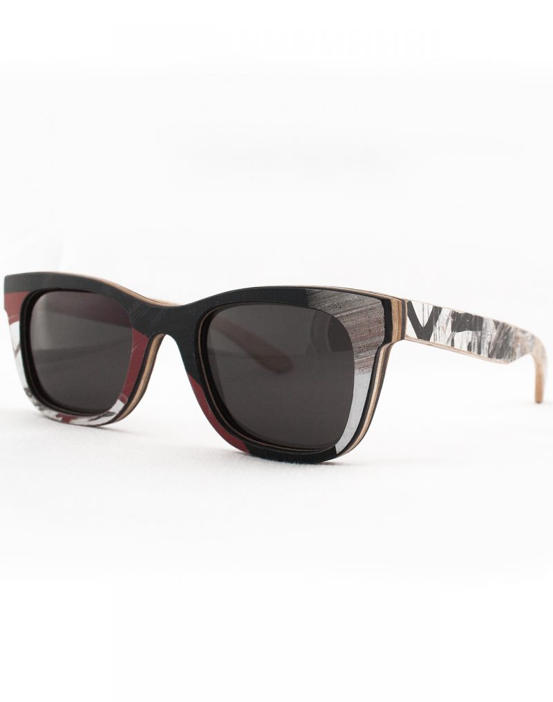 Recycled Wooden Skateboard Sunglasses (Red, Black and White)