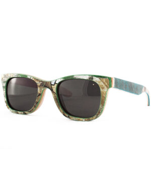 Recycled Wooden Skateboard Sunglasses (Green and Yellow)