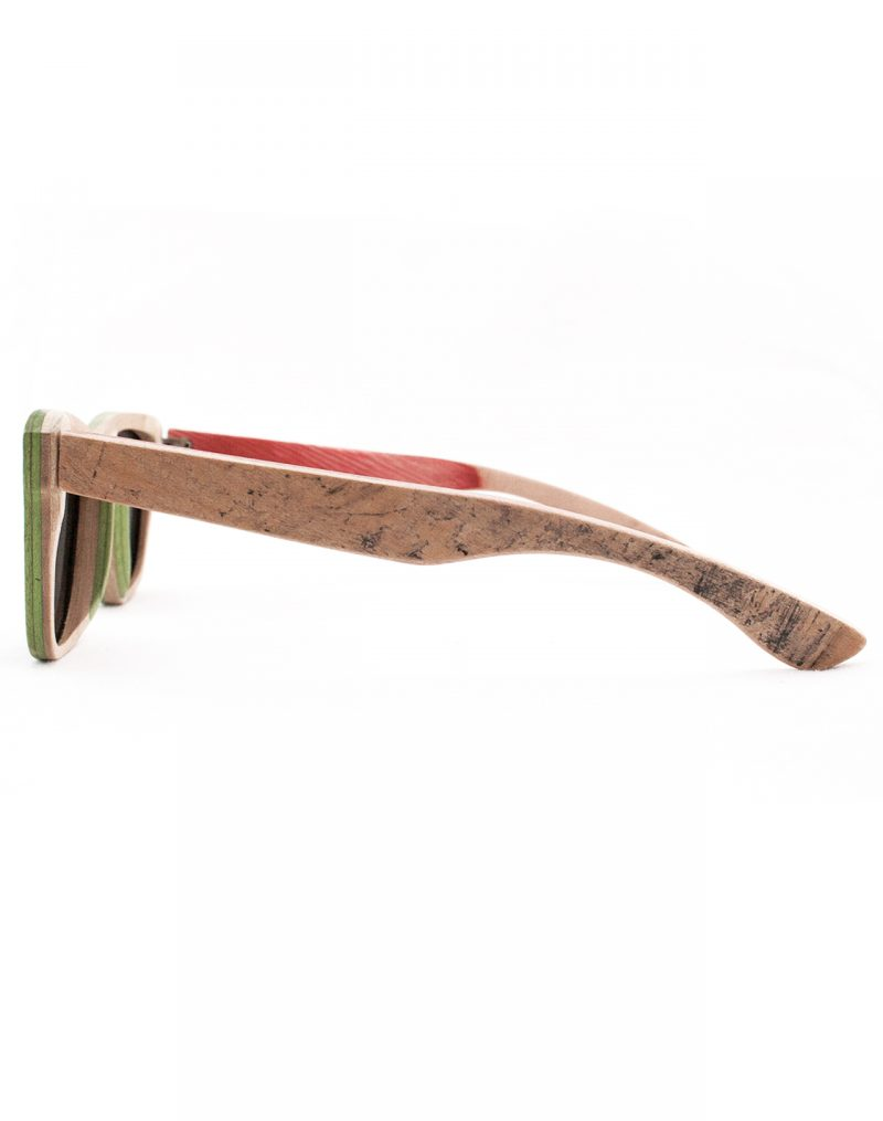 Recycled Wooden Skateboard Sunglasses (Green and Black)
