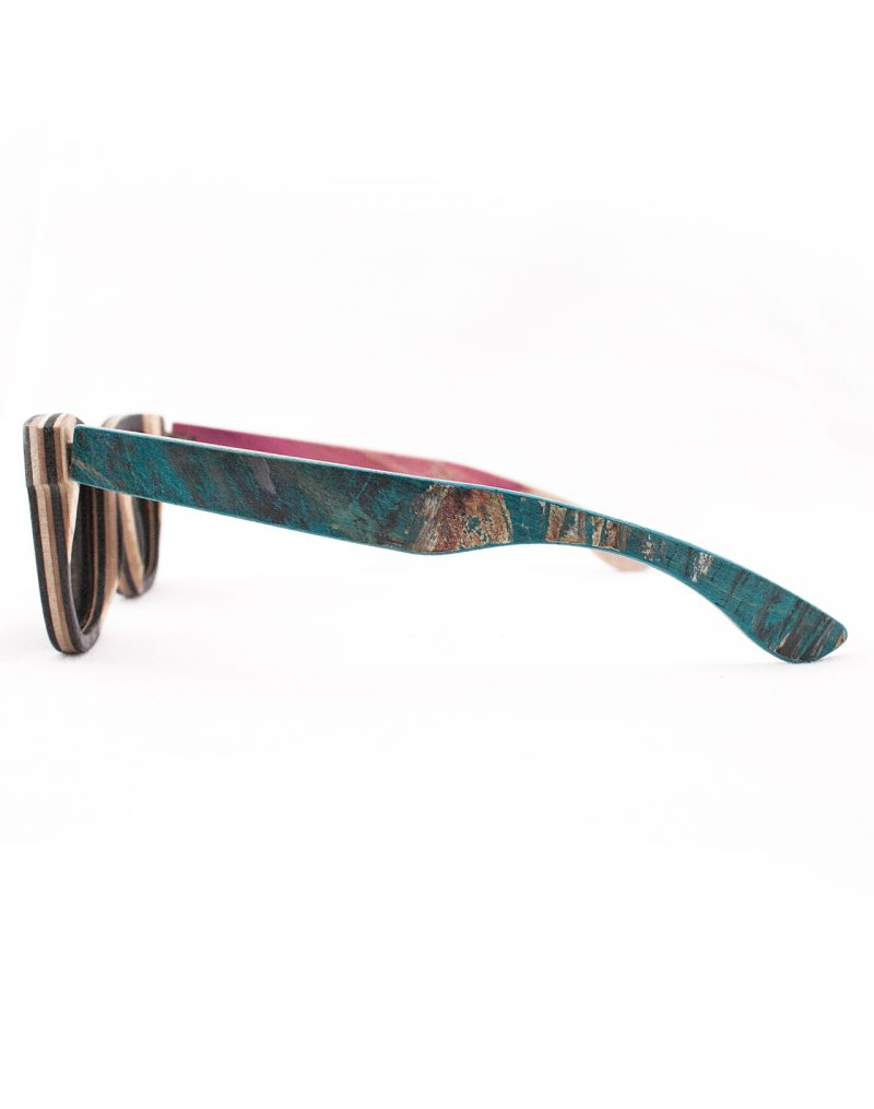 Recycled Wooden Skateboard Sunglasses (Green, White and Black)