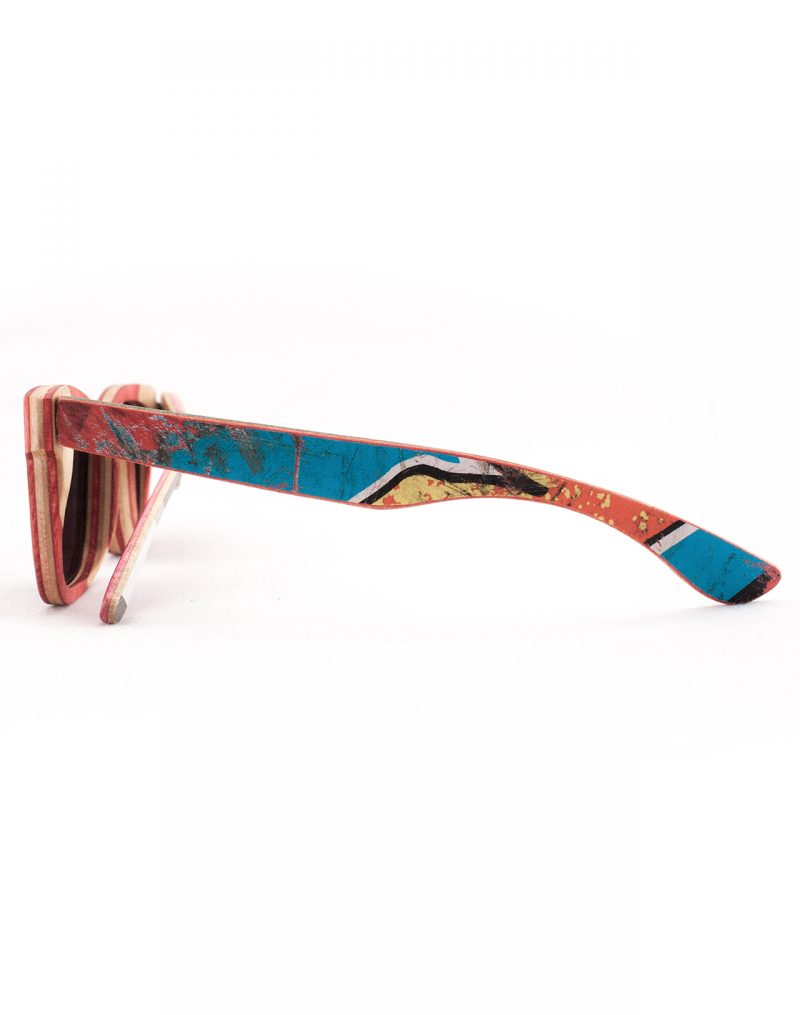 Recycled Wooden Skateboard Sunglasses (Red)