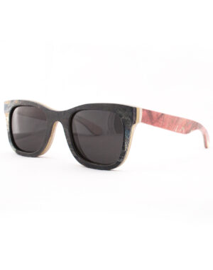 Recycled Wooden Skateboard Sunglasses (Red and Black)