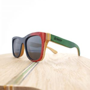 Recycled Wooden Skateboard Sunglasses (Blue and red frames with green temples)