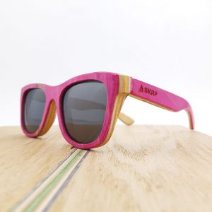 Recycled Wooden Skateboard Sunglasses (Pink)