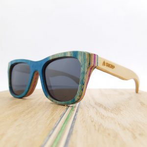 Recycled Wooden Skateboard Sunglasses (Blue frames and natural maple temples)