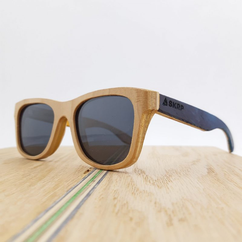 Recycled Wooden Skateboard Sunglasses (Natural maple frames with blue temples)