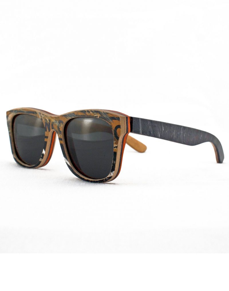 Recycled Wooden Skateboard Sunglasses (Brown, black and blue)