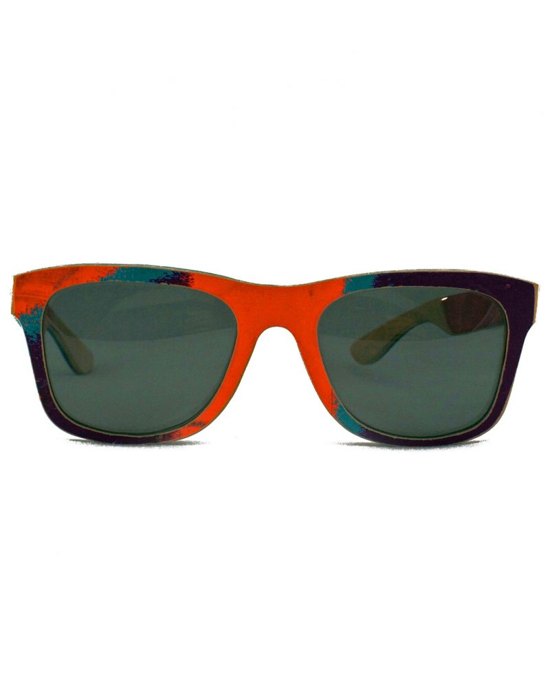 Recycled Wooden Skateboard Sunglasses (Orange, Blue and Purple)