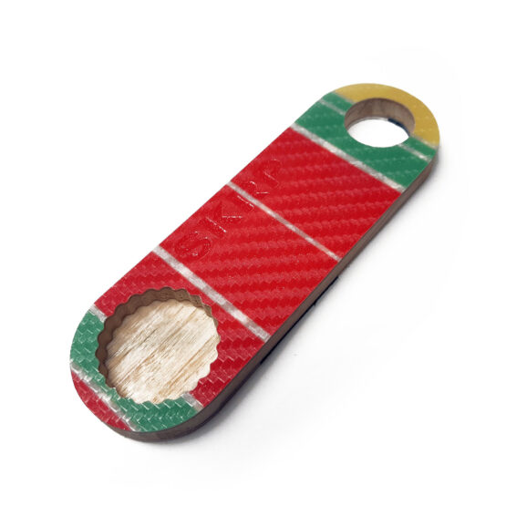 Bottle Opener – made from recycled snowboards (red and yellow)
