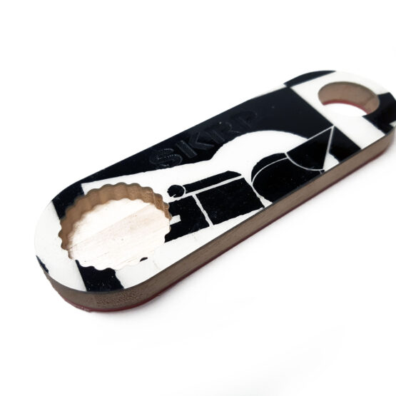 Bottle Opener – made from recycled snowboards (black and white)