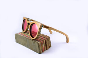 Recycled Wooden Skateboard Sunglasses (pink Lenses)