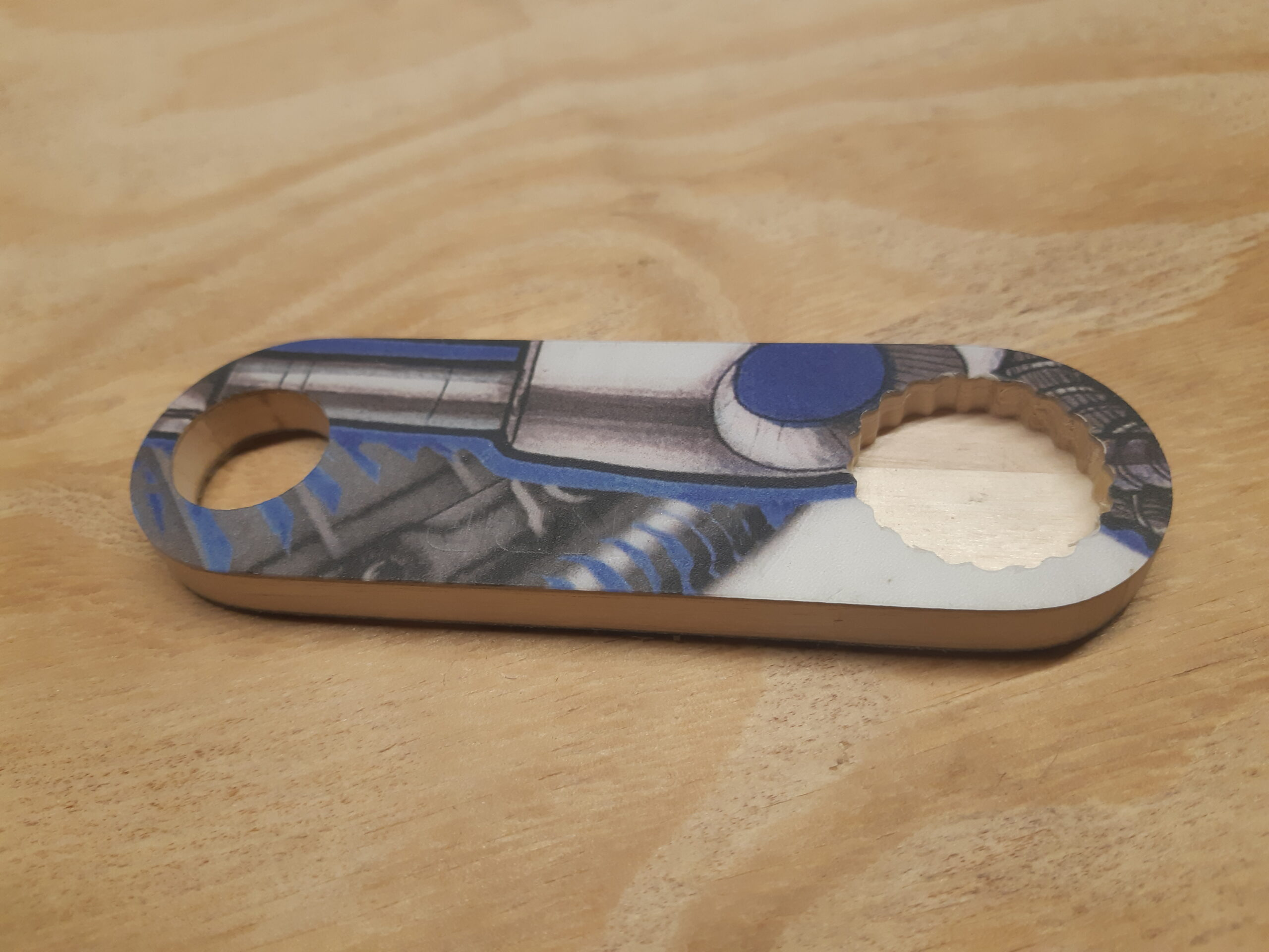 Bottle Opener – made from recycled snowboards (blue and grey robot)