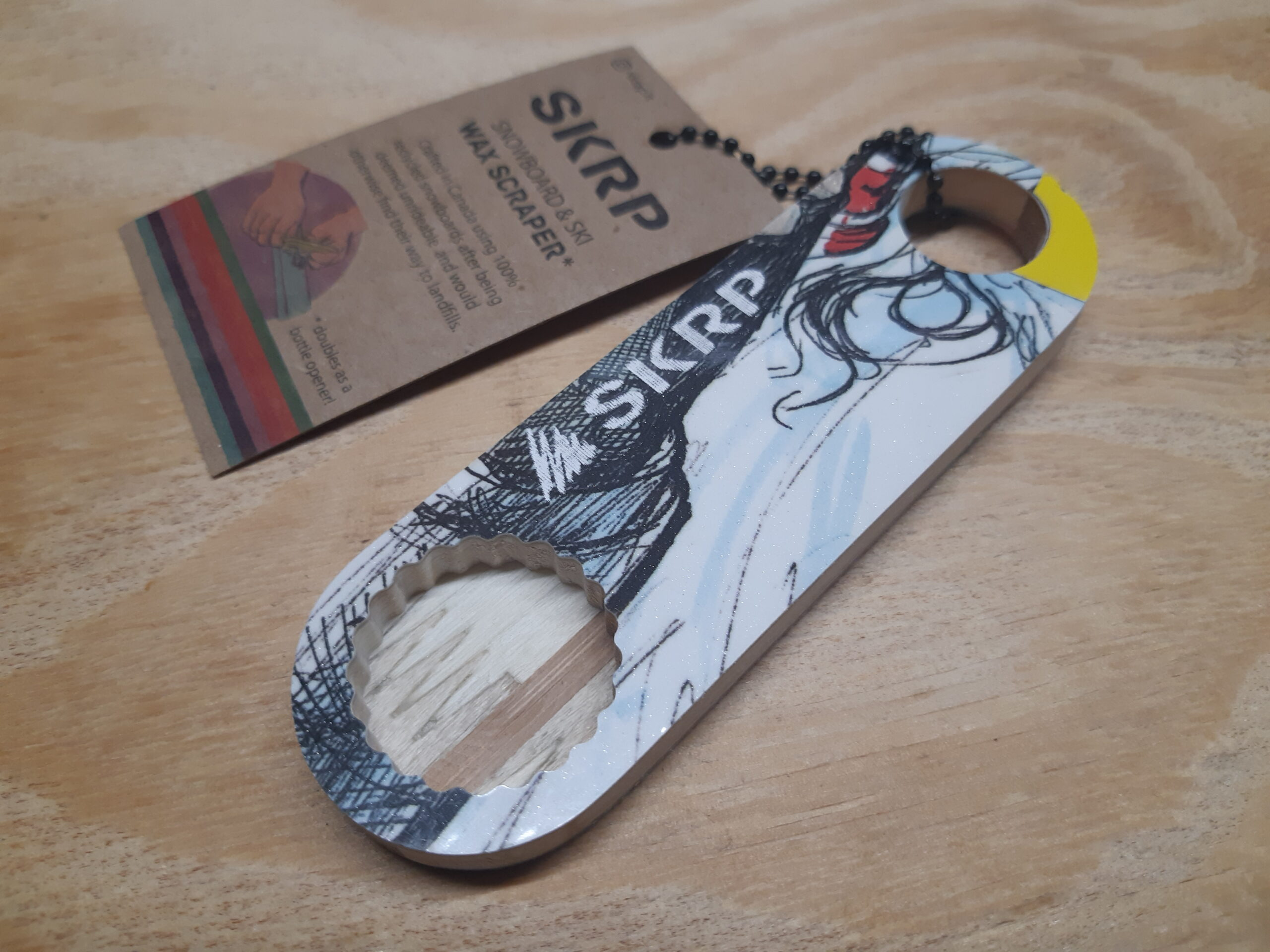 Bottle Opener – made from recycled snowboards (blue and white swirls)
