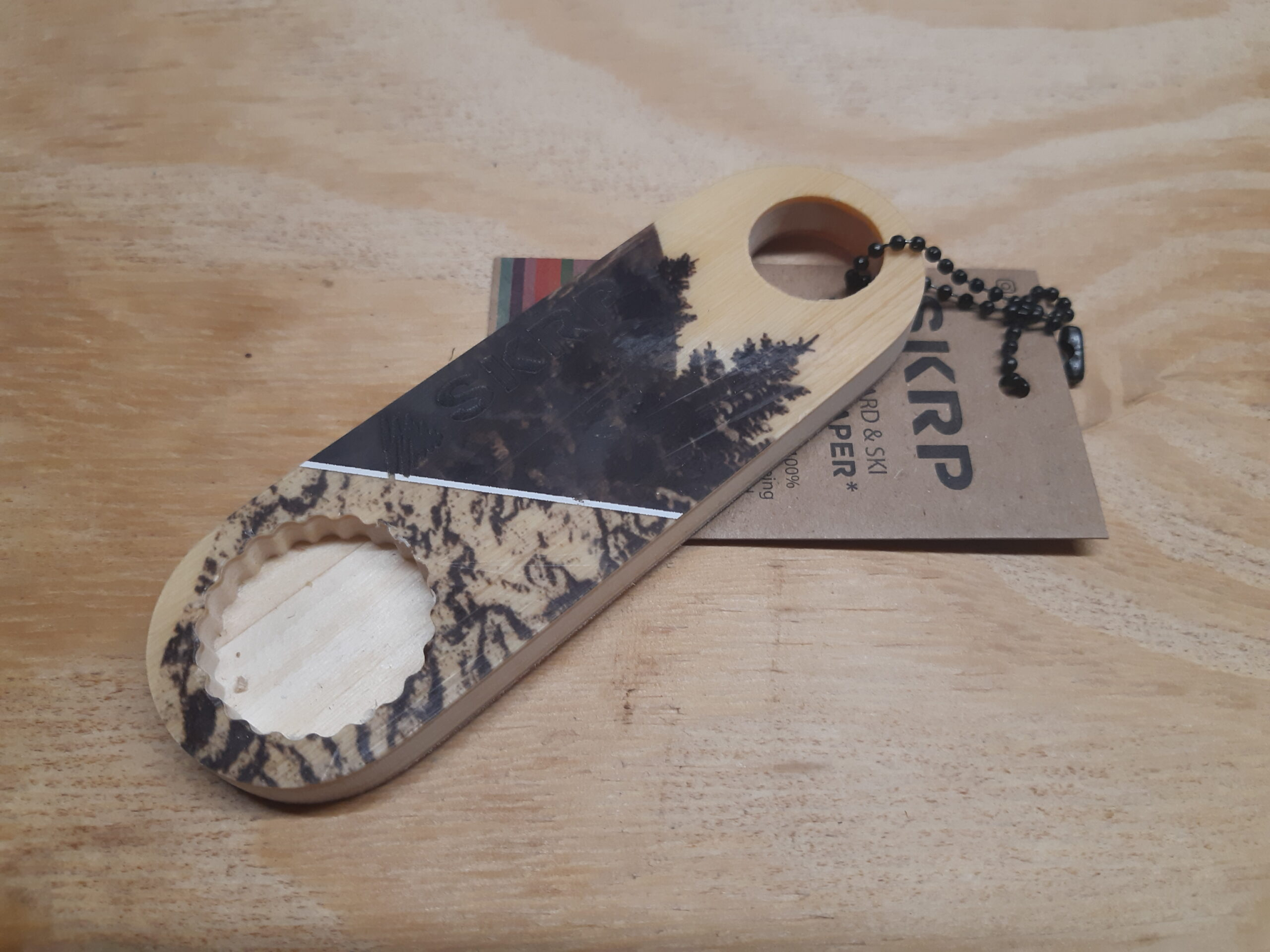 Bottle Opener – made from recycled snowboards (Black and Yellow)