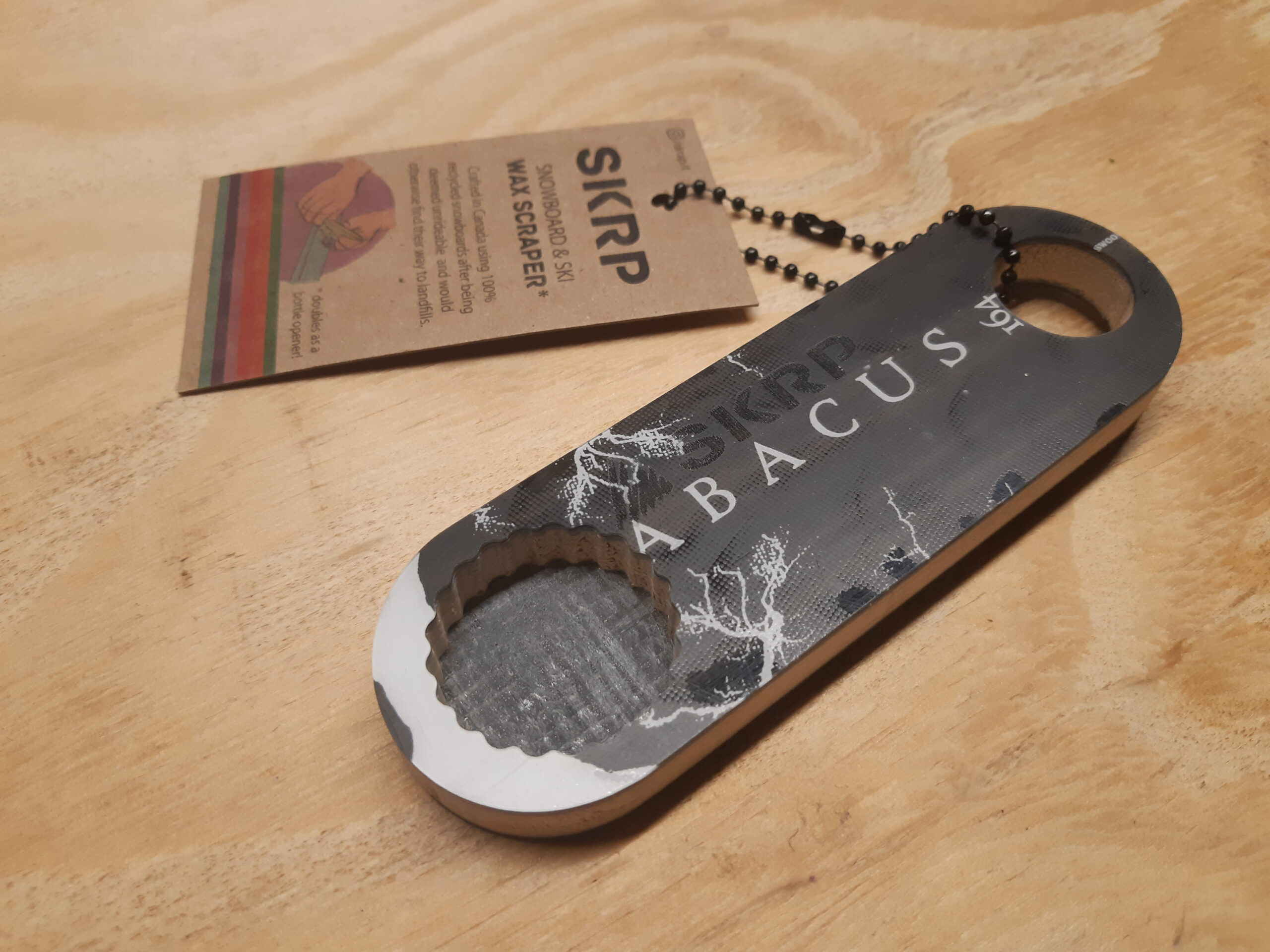 Bottle Opener – made from recycled snowboards (black and lighting)