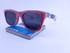 Recycled Wooden Skateboard Sunglasses (red frame)