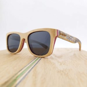 Recycled Wooden Skateboard Sunglasses (Natural, Blue & Pink)