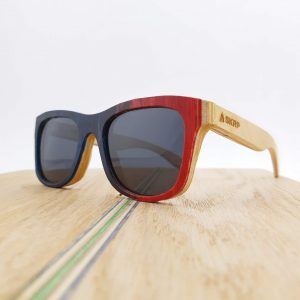 Recycled Wooden Skateboard Sunglasses (red and dark blue)