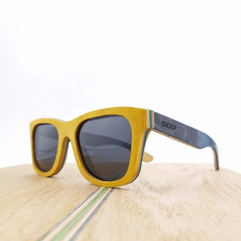 Recycled Wooden Skateboard Sunglasses (Yellow frames with Blue Temples)