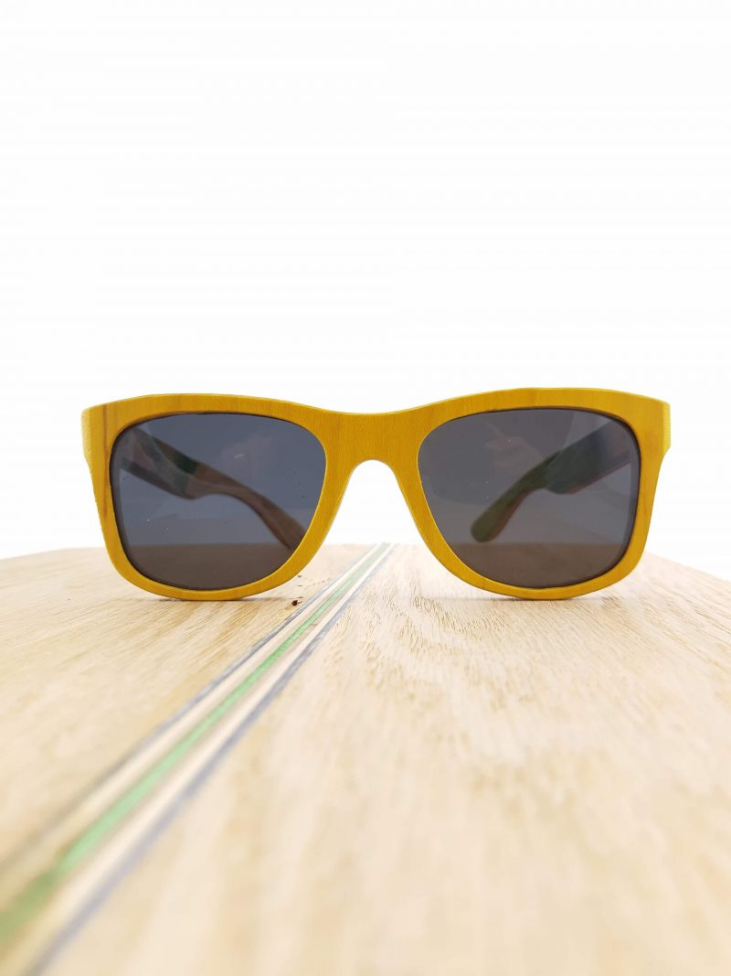 Recycled Wooden Skateboard Sunglasses (Yellow Frames and Red Temples)