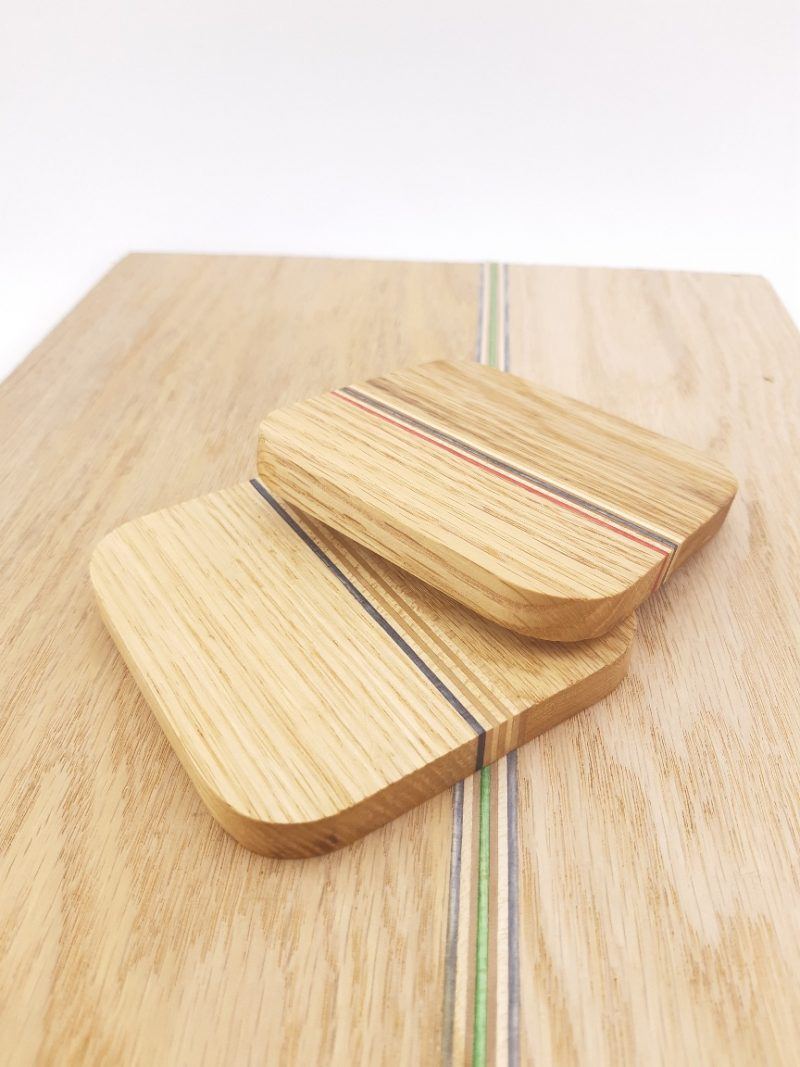 Coasters (Hardwood with recycled skateboard inlay)