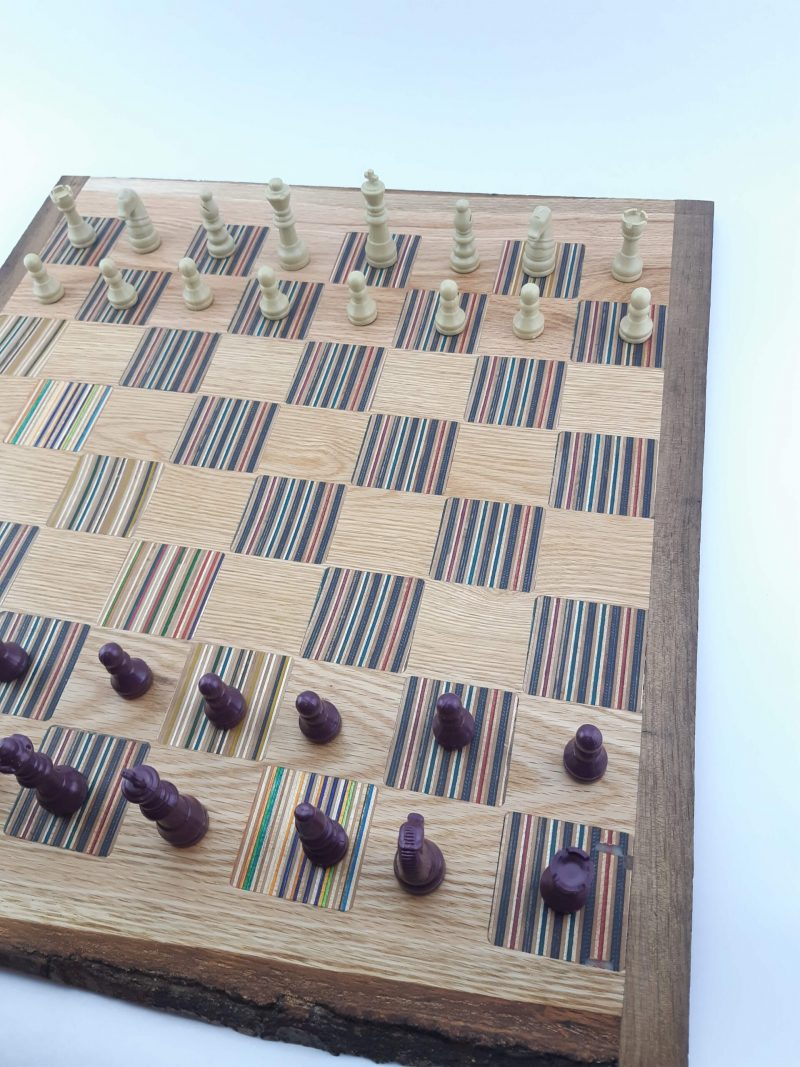 Chessboard with recycled skateboard squares