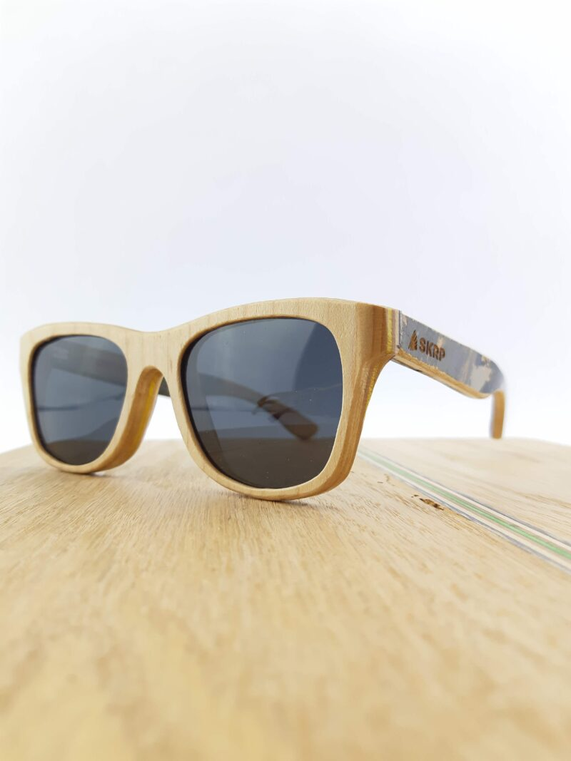 Recycled Wooden Skateboard Sunglasses (Graphic Temples)