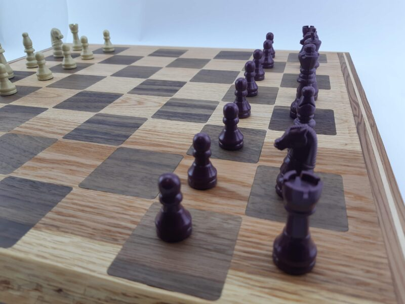 Chessboard made from red oak and Walnut